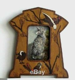 Frame Old Art Deco Wood Pyrograve Painting Oil On Canvas Cat Gray