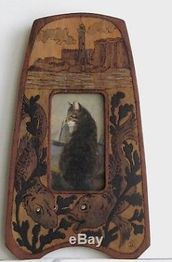 Frame Old Wood Pyrograve Painting Oil On Canvas Cat In Front Of The Sea