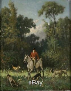 François Duyk, 19th Century, Hunting Scene, Horse, Dogs, Cote Until 2400