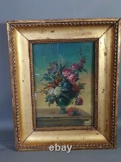 French School 19th Century Bouquet De Fleur Sur Entablement Oil Sur Bois Sb