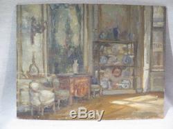 G. Necheze Ancient Oil Table On Panel Interior Living Room XVIII Boiserie