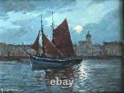 Gabriel Deschamps Tableau Marine Ship Port Sable Dolonne French Painting