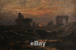 Gaston Guignard (1848-1922) -oil On Wood- Argentina-flock Watering-signed
