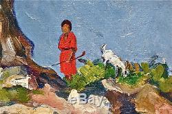 Goat Keeper Kabylie 1934 Algeria P. Capek. Oil / Wood. Frame 55x48cm