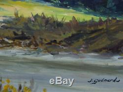 Guenard. Painting. Mountain. Large Dimensions. Wood Panel