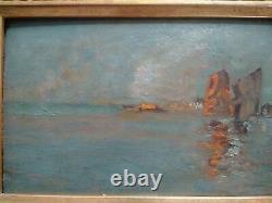 Guglielmo Ciardi Superb Painting Xixth Lagoon Venice Oil On Wood Signed Frame