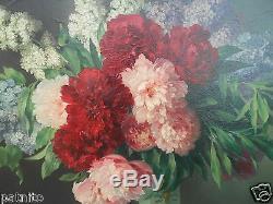 Haton. Table Oil Painting Bouquet Of Flowers Frame Restoration. 81cm X 97cm