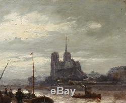 Henry Malfroy Painting Landscape Notre-dame Paris Docks Seine Impressionism Rain