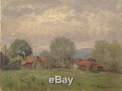 Henry Marie Charry Table Village Circa 1920 Lorrain Painter / Work Rare