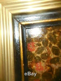 High Period Virgin Auroses With Fruits Stamped Panel Art Primitif