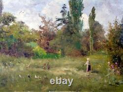 Hsp XIX Eme Ecole De Barbizon Landscape Bergere Poules Burgundy Signed A Perdreau