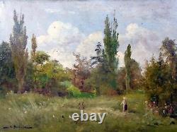 Hsp XIX Eme School De Barbizon Landscape Bergere Poules Burgundy Signed A Perdreau