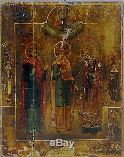 Icon Greek. Santos. Oil On Panel. Nineteenth Century