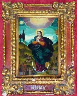 Immaculate. Oil On Wood. Original Carved Wood Frame. Spain. Xvii-xviiie
