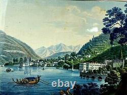 Italian Gouache - Lake Como - Italy - Lombardy - Painting - Frame - Ancient