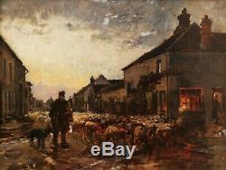 Jean Ferdinand Chaigneau Landscape Painting School Barbizon Shepherd Sheep Flock