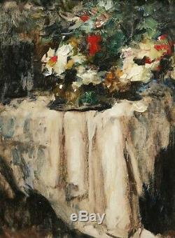Jean Laudy Belgian Painter Painting Still Life Flowers Table Cloth Art Deco Oil