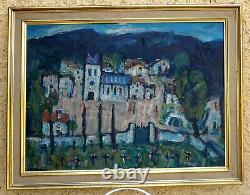 Jean Saussac 1922-2005. Great - Beautiful Landscape. The Mountain Village In Ardèche