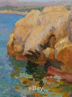 Jeanne Dubut Landscape Oil Painting Navy Riviera Pointillist Divisionism