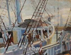 Jeanne Dubut Marine Painting View Rouen Port Bridge Boat Sailboat Oil Landscape Art
