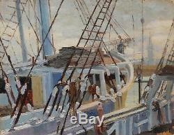 Jeanne Dubut Table Navy Rouen View Harbor Bridge Sailboats Landscape Oil