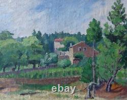Jehan Berjonneau 1890-1972. Grand Landscape Dardèche A Ucel, The Mas De The Artist