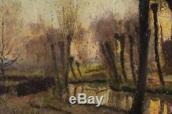Joseph Caron, 1866, Riverside At Sunset, Quotation 1.000 Euros