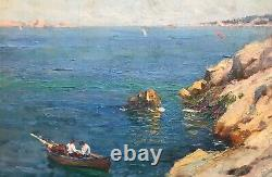 Jules Brunetaut Table Marine Oil On Panel Boats Fishermen Rade Marseille
