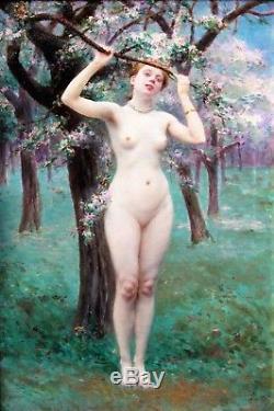 Jules Scalbert 1851-1933 Nude Woman Under The Apple Trees Oil On Wood Chalkboard