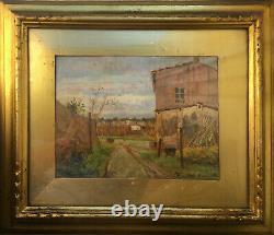 Landscape Painting, Hsp'entrée De Village School Tuscany With Frame