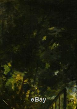 Landscape Under Wood Stairs Oil On Canvas 19th Sign Teo Superb