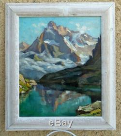 Large & Bright Alpine Landscape 1940. Lake Petarel & L'olan In The Ecrins