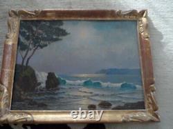 Large Hsp Old Seaboard Mediterannee Signee Tb Frame Wood Dore A Cle