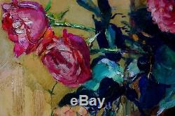 Large Painting 1938 Maurice F Perrot Flowers Verneuil Seine-et-oise Roses Bouquet