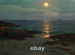 Lionel Walden Painting Oil Marine Oil American Painter Brittany Nocturnal Boats