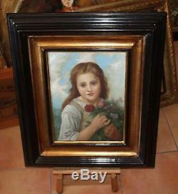 Little Girl With Flowers, Framed Painting