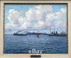 Louis Adolphe Gaussen (1871-1957) -marseille Port Of Toulon-marine