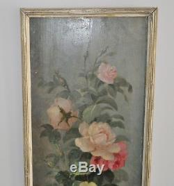 Louis Darey 1863 -1914 Oil On Wood Bouquet Of Roses France