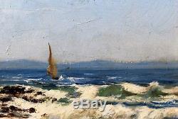 Louis Gaidan 1847-1925 Seaside Mediterranean Oil On Wood Painting Painting