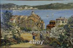 Louis Vigon (1897-1985) View Of Villefranche Sur Mer Oil On Panel