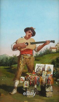 Luigi Scorrano Italian Painting Musician Naples Puglia Costume Landscape Italy