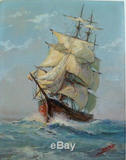 Marine Boat Old Sail Voilier Signed Nard XX Ref 1