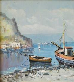 Marine-golf Of Naples-inshore Landscape With Boats-oil Painting Signed