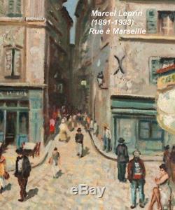 Marseille Vieux Port 1920. Table Bright Impressionist. Marcel Leprin