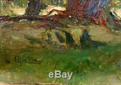 Mattio Laurent (1892-1965) Hsp Landscape Signed 19 X 23 CM Toulon Painting Provence