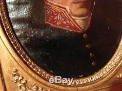 Military Empire Portrait, Early Nineteenth Era, Oil On Canvas Nailed To Wood