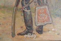 Military Painting Officer 10th Reg. Hussards Empire Napoleon 19th Mauritius Orange