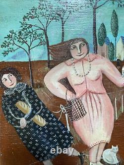 Modern Art Painting Naif Women Scene Animated Painting By Dominique Sellier