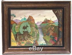 Monchâtre François Oil On Panel Signed Dated 1974 Surreal Art Brut Art
