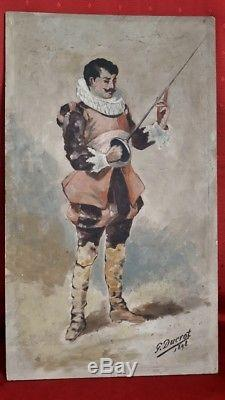 Musketeers, Two Oils On Wood, Signed G. Ducrot 1898